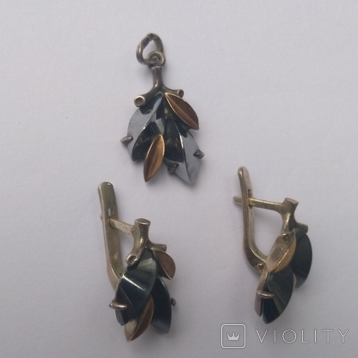Набор серьги и кулон серебро, фото №6