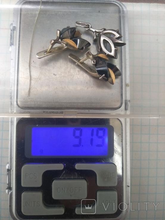Набор серьги и кулон серебро, фото №10