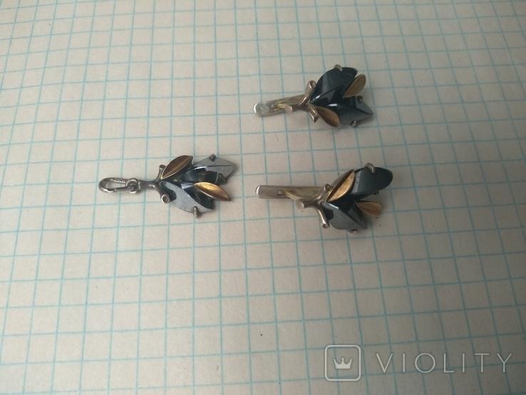 Набор серьги и кулон серебро, фото №11