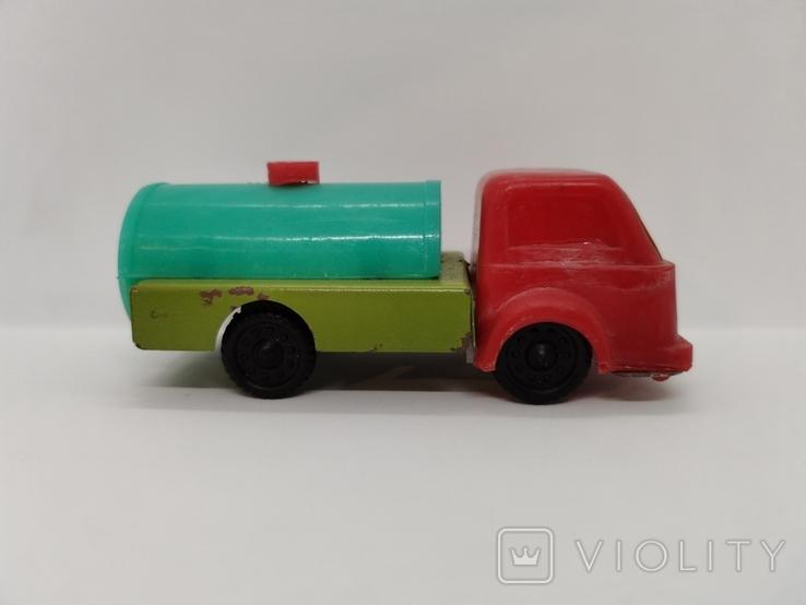 Машинка бензовоз СССР ОТК металл пластмасса 14 см. грузовая машина  № 2, фото №3