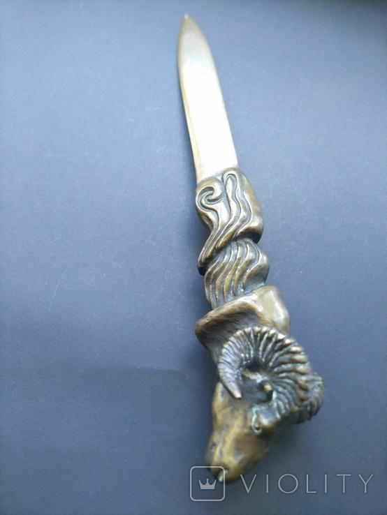 Антикварный нож для бумаг, писем Баран, фото №2