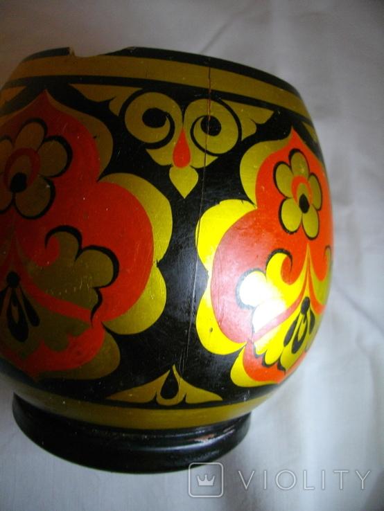 Бочонок с крышкой расписанный хохломской росписью (СССР), фото №7