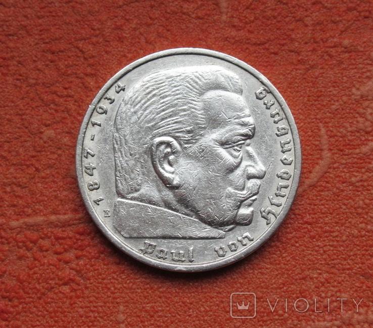 5 марок 1936 г. (Е) Третий рейх, свастика, серебро, фото №6