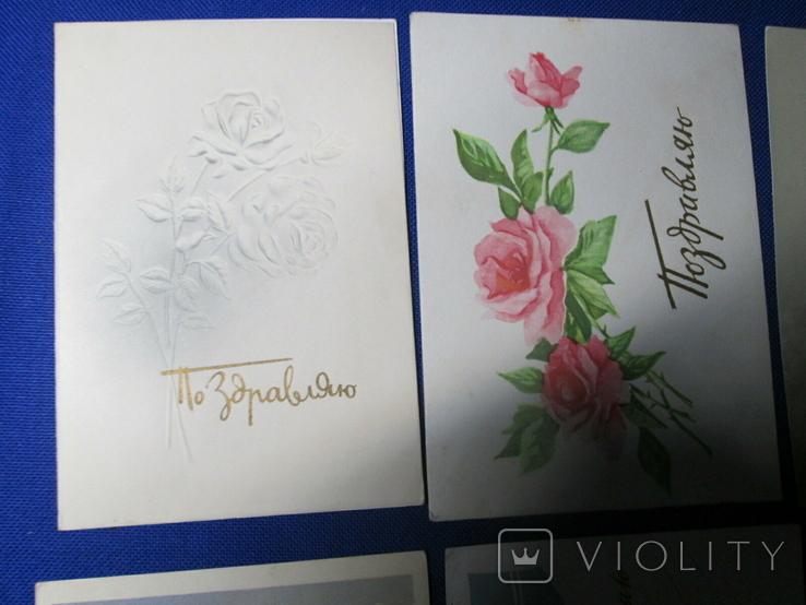 Старые Открытки СССР 60 х  Цветы Розы  10 шт, фото №4