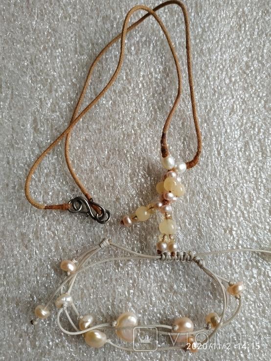 Колье на нитке жемчуг, камни, серебро браслет, фото №3