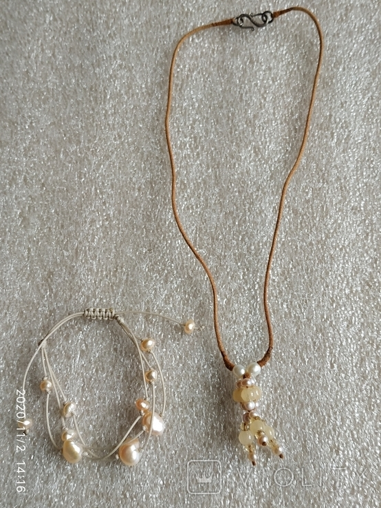 Колье на нитке жемчуг, камни, серебро браслет, фото №2