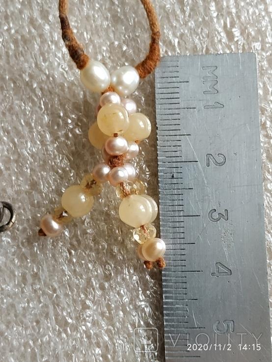 Колье на нитке жемчуг, камни, серебро браслет, фото №5