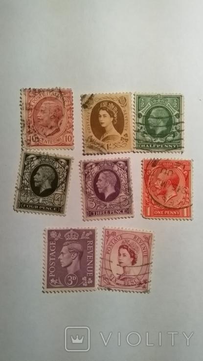 Подборка марок Англии 8 штук, фото №2