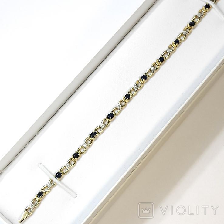 Винтажный золотой (10к) браслет с натуральными сапфирами и бриллиантами