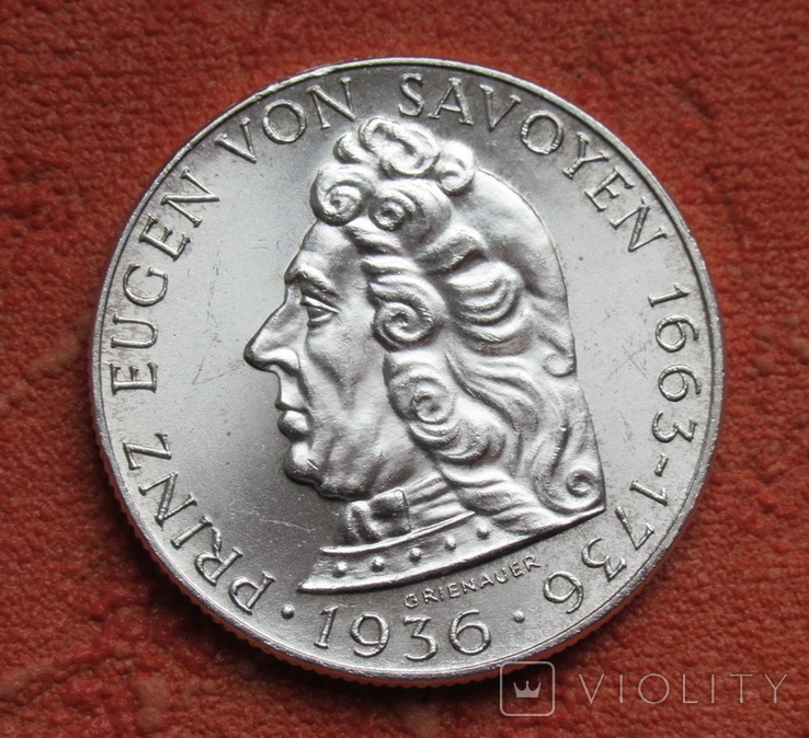 "2 шиллинга 1936 г. ""Принц Савойский"", Австрия, серебро, фото №2"