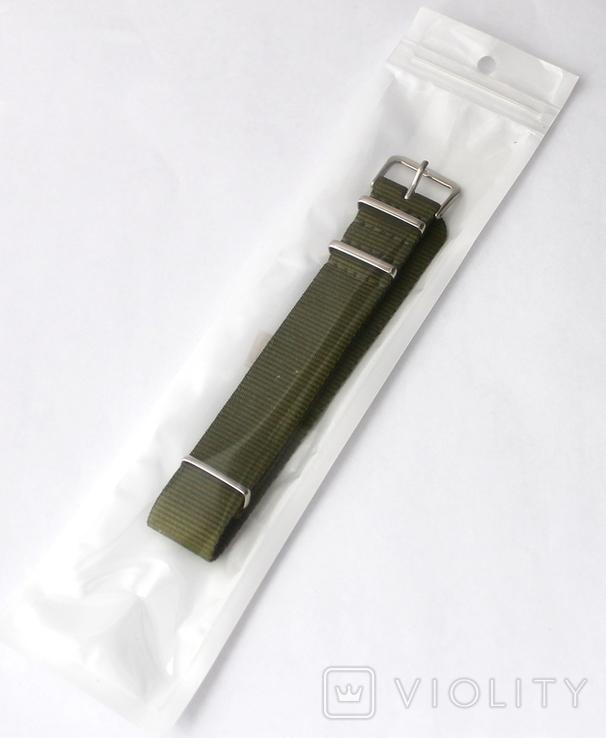 Ремешок Браслет НАТО NATO Новый в упаковке Размер на выбор 18, 20, 22 Зеленый, фото №6