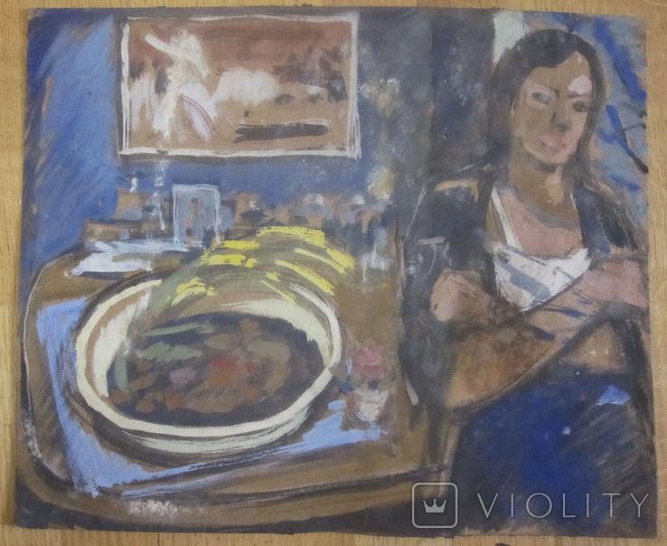 "А. Сафаргалин  "" Портрет девушки. "" 42х35 см., фото №2"
