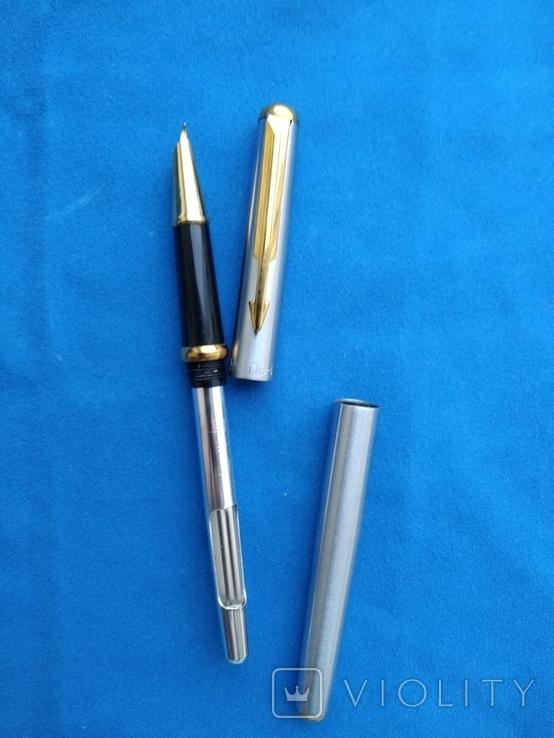 Чернильная ручка с загнутым пером(для левши) в металлическам корпусе, фото №2