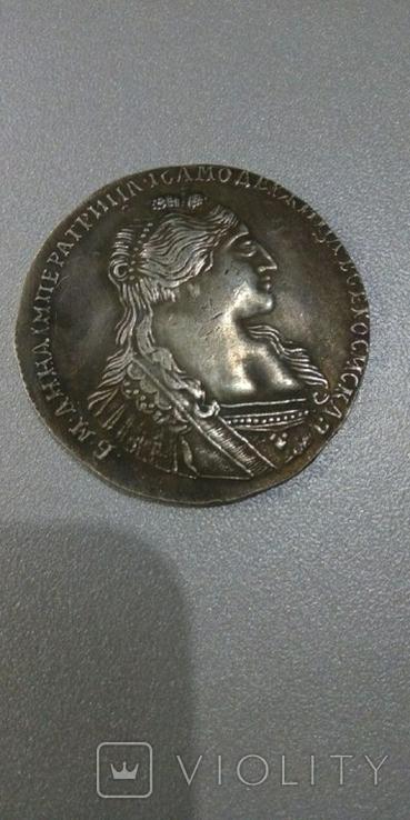 Рубль 1734 года портрет Анны с кулоном на груди, копия, фото №2