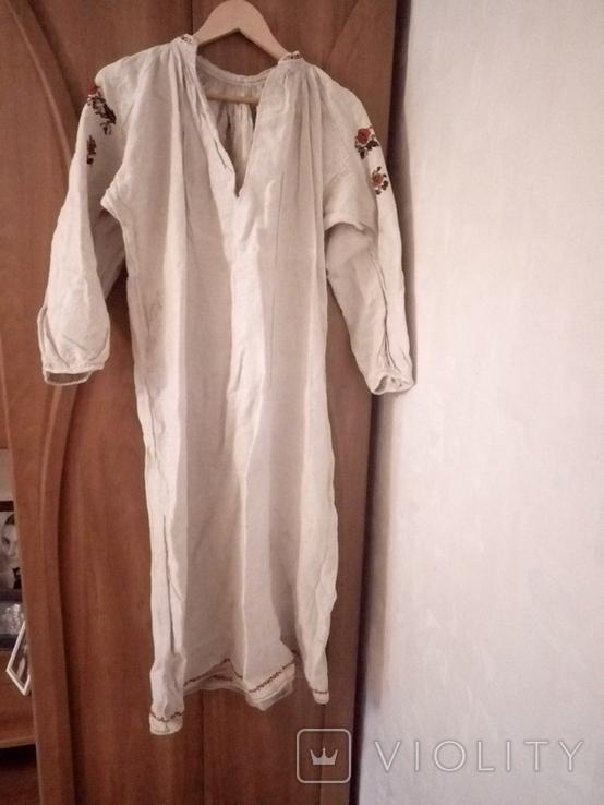 Старинная льняная рубашка с вышивкой, фото №3