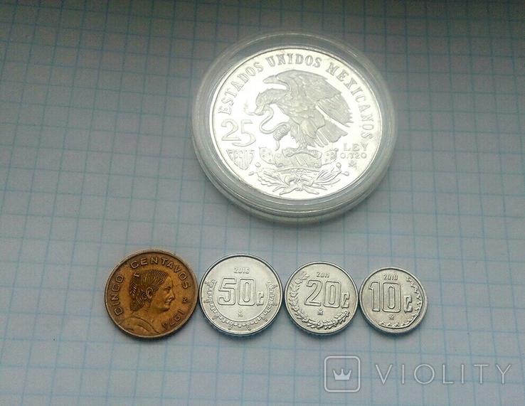 25 песо, серебро,1968г.Олимпиада,  плюс 4 монеты  Мексики, на бонус., фото №3