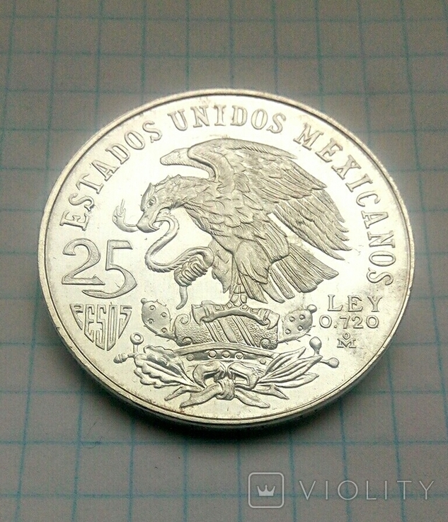 25 песо, серебро,1968г.Олимпиада,  плюс 4 монеты  Мексики, на бонус., фото №5