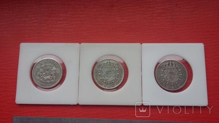 Шведские кроны в серебре три шт., фото №8