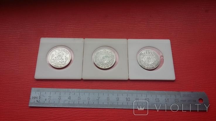 Шведские кроны в серебре три шт., фото №13