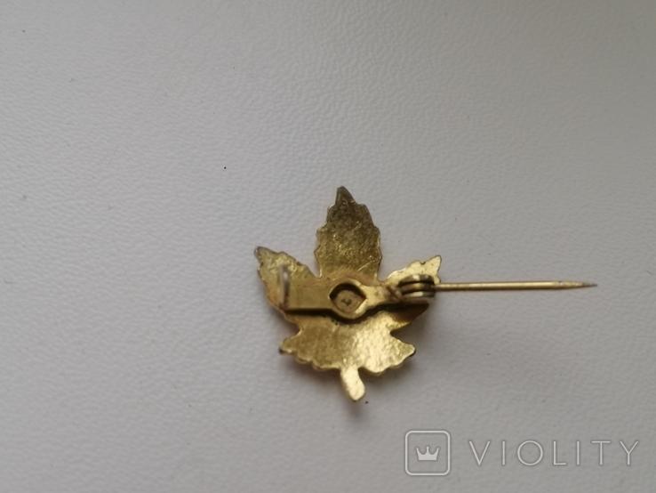 Брошь -малютка Кленовый листик. Винтаж. США. 50-е гг. (213814), фото №4