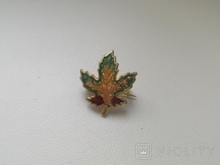 Брошь -малютка Кленовый листик. Винтаж. США. 50-е гг. (213814), фото №5
