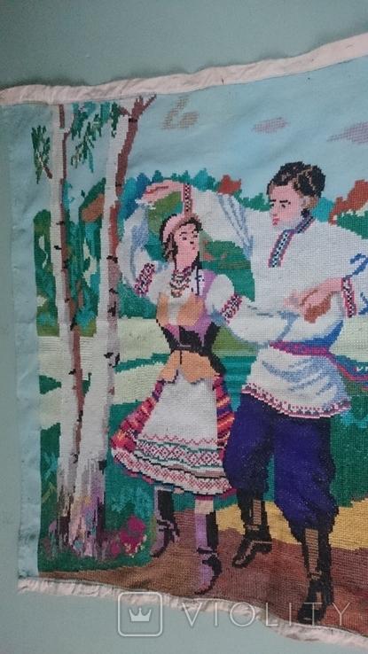 """Вышитая картина """"Украинский танец"""" врмен СССР, фото №6"""