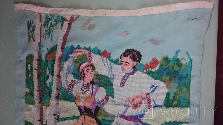"""Вышитая картина """"Украинский танец"""" врмен СССР, фото №8"""