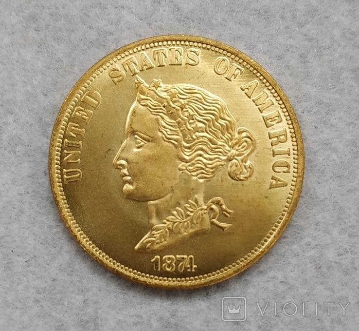 """США 10 долларов 1974 """"ЗОЛОТО"""" копия, фото №3"""