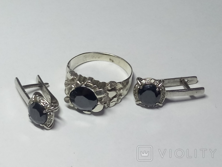 Кольцо и серьги с камнем серебро., фото №2
