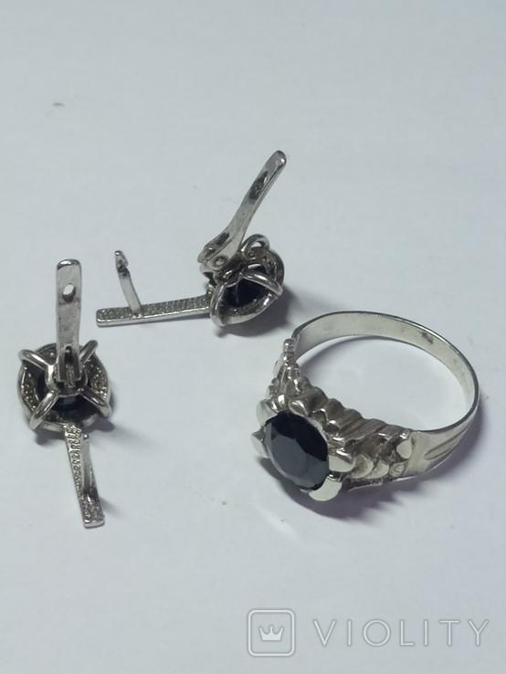 Кольцо и серьги с камнем серебро., фото №4