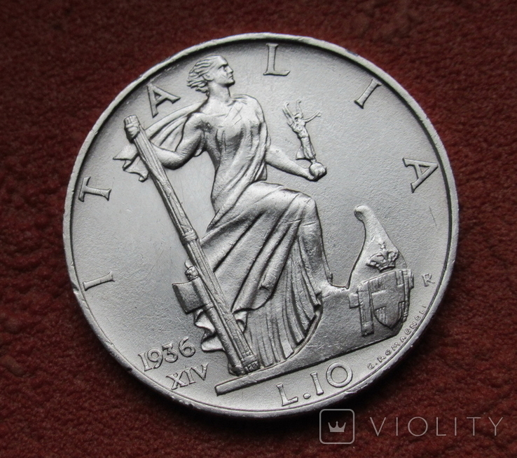 10 лир 1936 г. Италия, серебро, фото №4