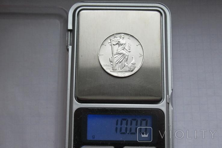 10 лир 1936 г. Италия, серебро, фото №12