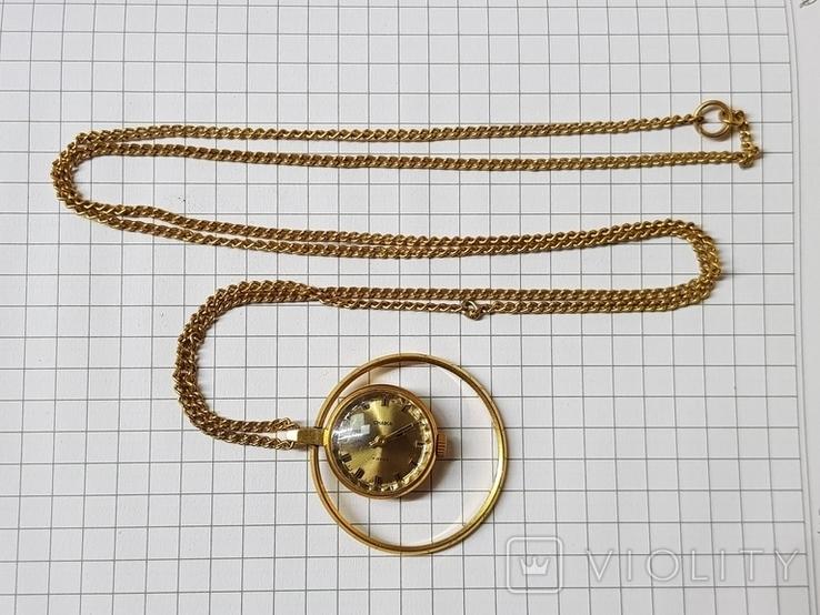 Часы-кулон Чайка AU5 с цепочкой, фото №2