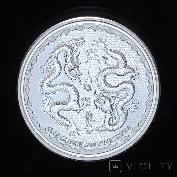 2 Доллара 2018 Два Дракона и Огонь 1oz, Ниуэ Унция, фото №2