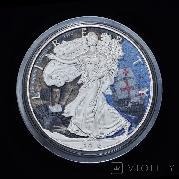 1 Доллар 2016 Христофор Колумб - Википедия Шагающая Свобода 1oz, США Унция, фото №2