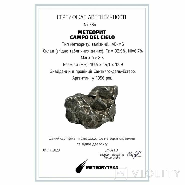 Залізний метеорит Campo del Cielo, 8,3 грам, із сертифікатом автентичності, фото №3
