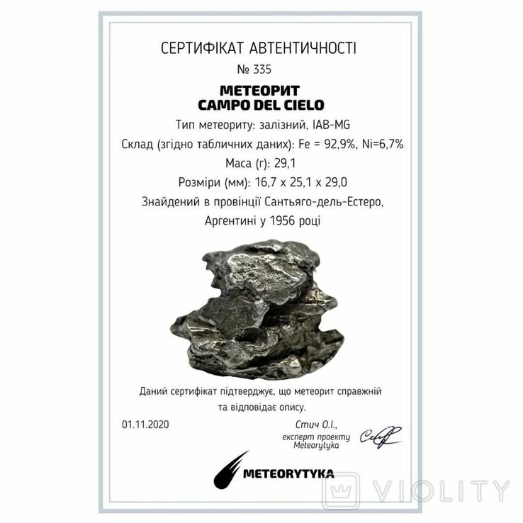 Залізний метеорит Campo del Cielo, 29,1 грам, із сертифікатом автентичності, фото №3