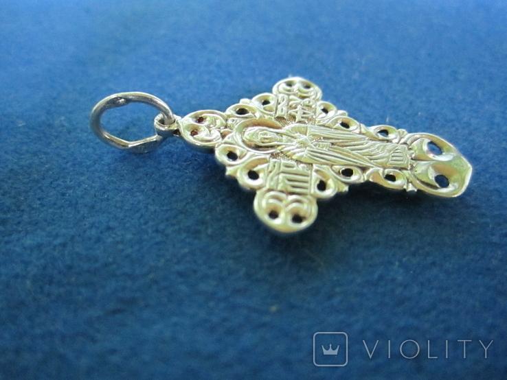 Крестик серебро с циркониями., фото №5