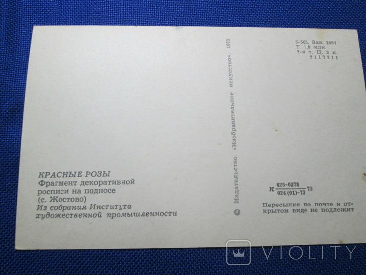 Старая открытка   1973 г  Красные Розы, фото №5