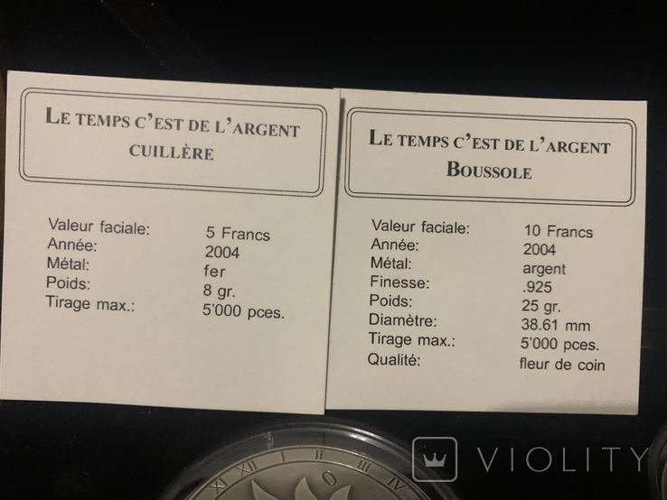 Набор Либерия Конго 10 долларов 10 франков 2004 год Время-деньги Компас и солнечные часы, фото №7
