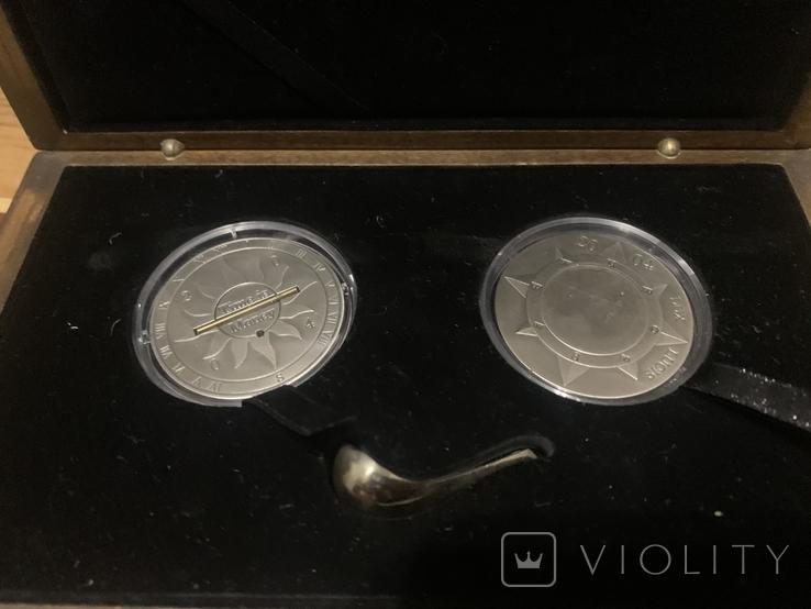Набор Либерия Конго 10 долларов 10 франков 2004 год Время-деньги Компас и солнечные часы, фото №8