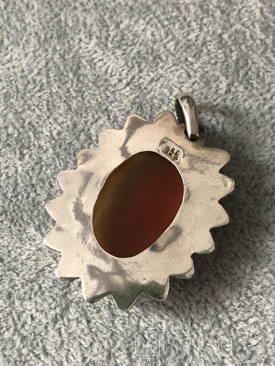 Массивный серебряный кулон Солнце с агатом (серебро 925 пр, вес 13,5 гр), фото №6