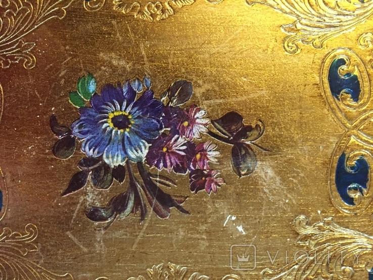 Винтажный флорентийский деревянный поднос, фото №5