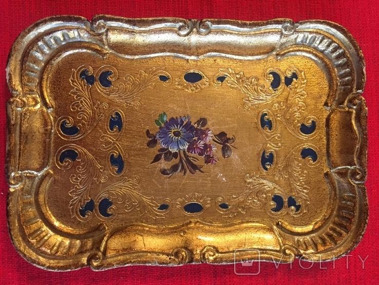 Винтажный флорентийский деревянный поднос, фото №8