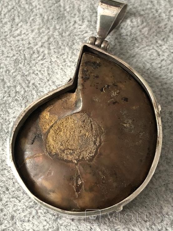 Серебряный кулон с пиритизированным аммонитом (серебро 925 пр, вес 30 гр), фото №7