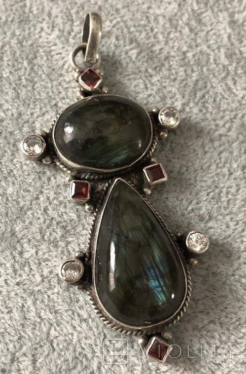 Массивный серебряный кулон с лабрадором и гранатом (серебро 925 пр, вес 20 гр), фото №2