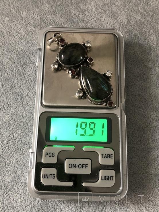 Массивный серебряный кулон с лабрадором и гранатом (серебро 925 пр, вес 20 гр), фото №3