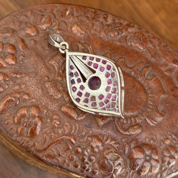 Серебряный винтажный  кулон с рубинами, фото №4