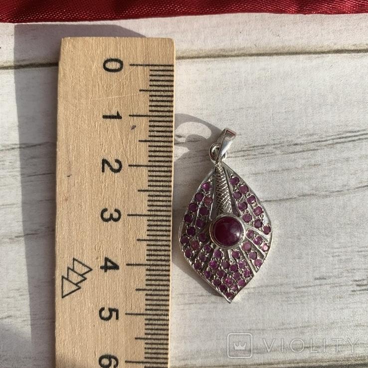 Серебряный винтажный  кулон с рубинами, фото №6