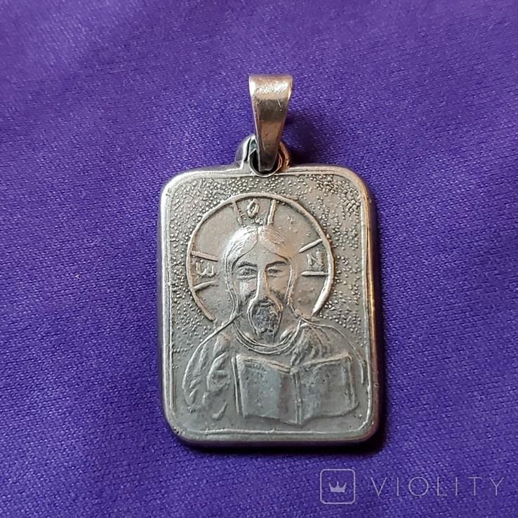 Серебряный медальон Христос Спаситель, фото №2